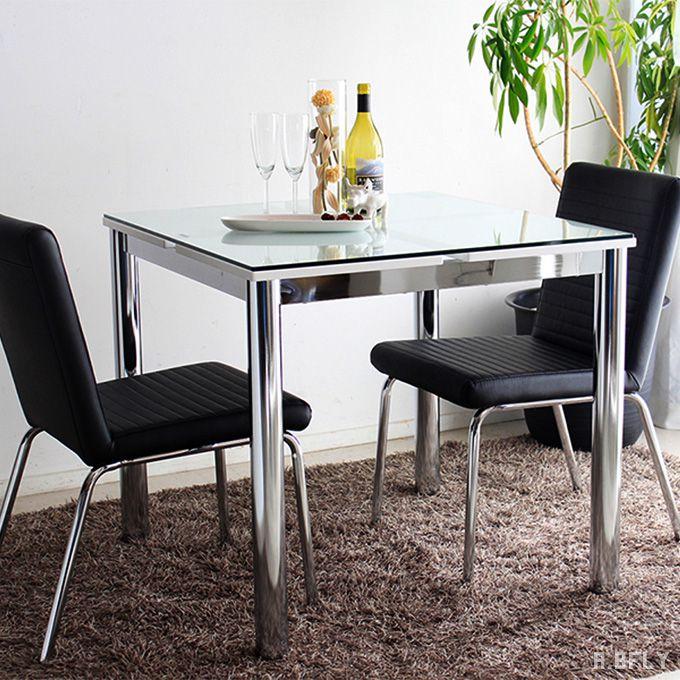 ダイニングテーブル 80 テーブル 80幅 正方形 ナチュラル シンプル モダンスタイル リビングテーブル 机 ガラステーブル シャープ ホワイト 白 2人掛け 食卓 モダン シンプル ナチュラル