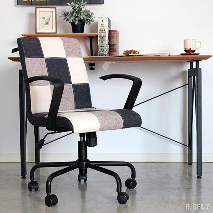 オフィスチェア コンパクト デスクチェア チェア チェアー ハンガー付き アーム 肘置き 肘付き オフィス家具 パソコンチェア パッチワーク レトロ モダン シンプル