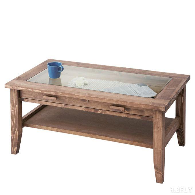 センターテーブル ローテーブル リビングテーブル ガラス天板 ディスプレイ 引き出し 収納 木製 ウッド 天然木 パイン材 シンプル クラシカル ブラウン 北欧 カントリー オールドカントリー 英国 ナチュラルカントリー ブリティッシュカントリー イングリッシュカントリー/