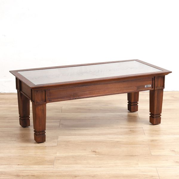 リビングテーブル テーブル 机 センターテーブル コーヒーテーブル ローテーブル 座卓 リビング チーク 木製 ガラス アジアン エスニック 南国 バリ ナチュラル リゾート デザイン 彫刻 透かし彫り/