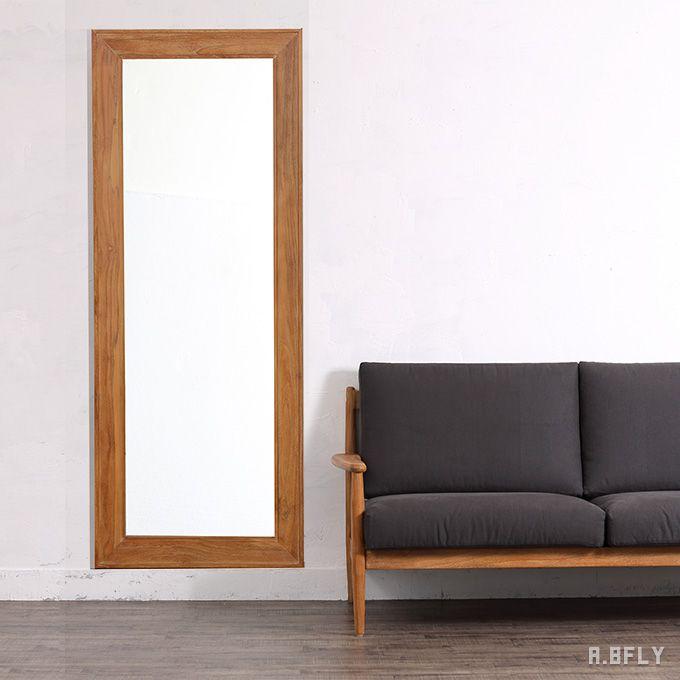 ウォールミラー スタンドミラー 姿見 全身鏡 壁立て 掛け式 チーク 無垢 木製 リビング 玄関 寝室 北欧 ナチュラル カントリー 大型鏡 ミラー インテリア ディスプレイ デザイン 店舗什器 クラシカル クラシック シック シンプル アンティーク モダン 天然素材 高級 気品/