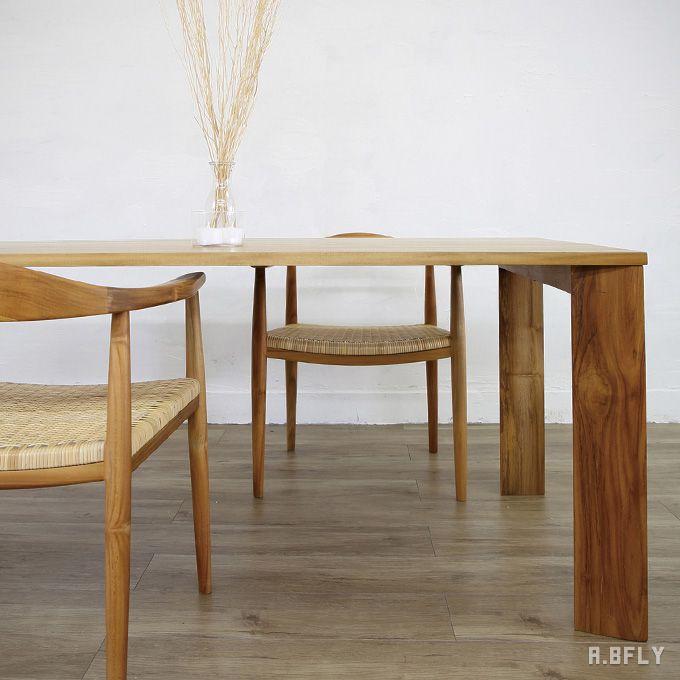 テーブル 机 ダイニングテーブル リビングテーブル 食卓 チーク 木製 ナチュラル スッキリ 高級家具 シンプル シック 北欧 カントリー モダン 西海岸 省スペース スリム/