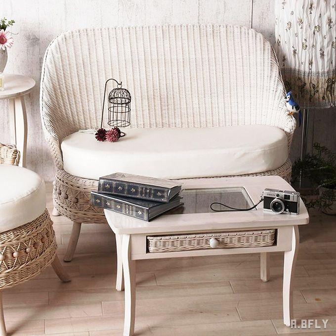 センターテーブル コーヒーテーブル ローテーブル テーブル 机 座卓 リビング ガラス ガーリー 姫系 フレンチカントリー ロイヤル ナチュラル ホワイト 白 軽い 一人暮らし 引き出し 収納 メルヘン パリ ロマンティック/