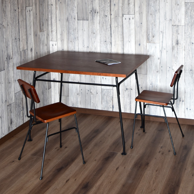 【3点セット】デスク ダイニングテーブル ダイニングチェアー 椅子 イス メープル 木製 アイアン 鉄脚 アンティーク調 北欧 作業台 カフェ アパレルショップ インダストリアル