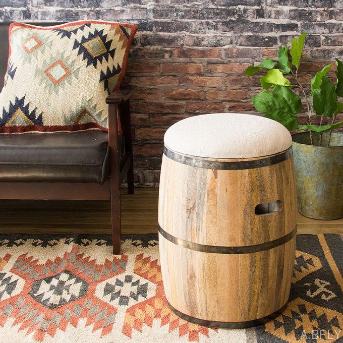 スツール 樽型 天然木 樽 収納 デザインスツール インテリア ディスプレイ クッション 椅子 腰掛 玄関スツール 収納ボックス 帆布 マンゴー材/