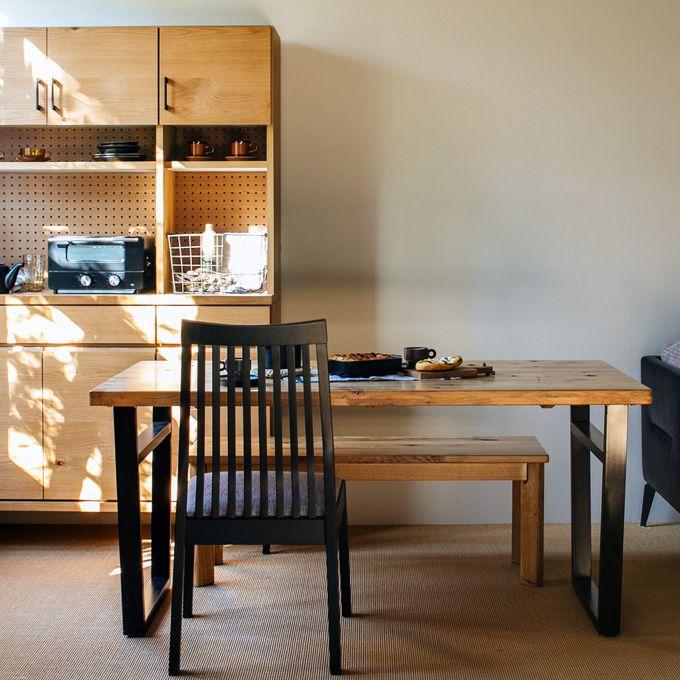ダイニングテーブル 幅150cm 幅180cm 食卓 テーブル オーク無垢材 天然木製 古材 ヴィンテージ シンプル ナチュラル 北欧 カフェ 素朴 ショップ ファミリー スチール インダストリアル/