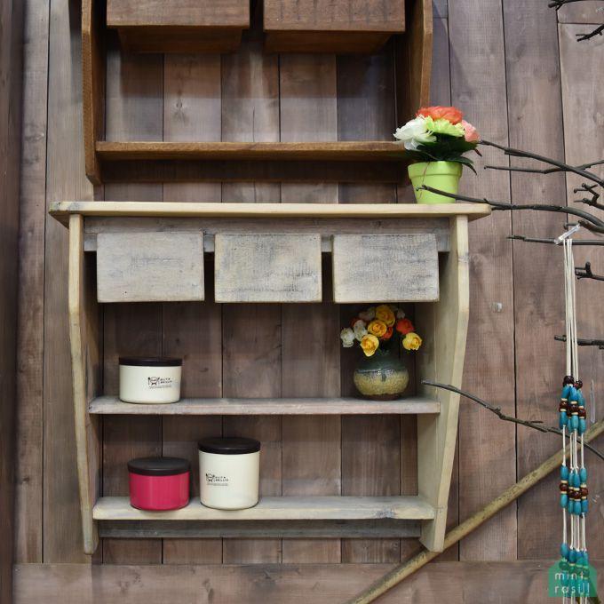 ウォールシェルフ 壁面収納 引出付き 引き出し 壁掛けシェルフ 棚 棚受け ホワイトウォッシュデザイナーズ 古木製 シャビー家具 リサイクルウッド アンティーク家具 アンティーク雑貨 北欧風 レトロ モダン マリン