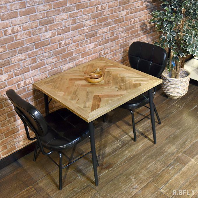 ダイニングテーブル 無垢 幅80cm ヘリンボーン 正方形 テーブル 食卓 机 2人用 天然木 パイン 古材 ラバーウッド インダストリアル ヴィンテージ ブルックリン カフェ ショップ レストラン