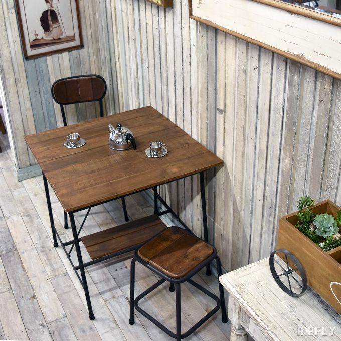 古材 古木 ダイニングテーブル 幅80×80cm 2人用 正方形 スクエア リサイクルウッド 木製 鉄脚 アイアン アンティーク ヴィンテージ カフェテーブル レトロ スチール インダストリアル 一人暮らし ショップ