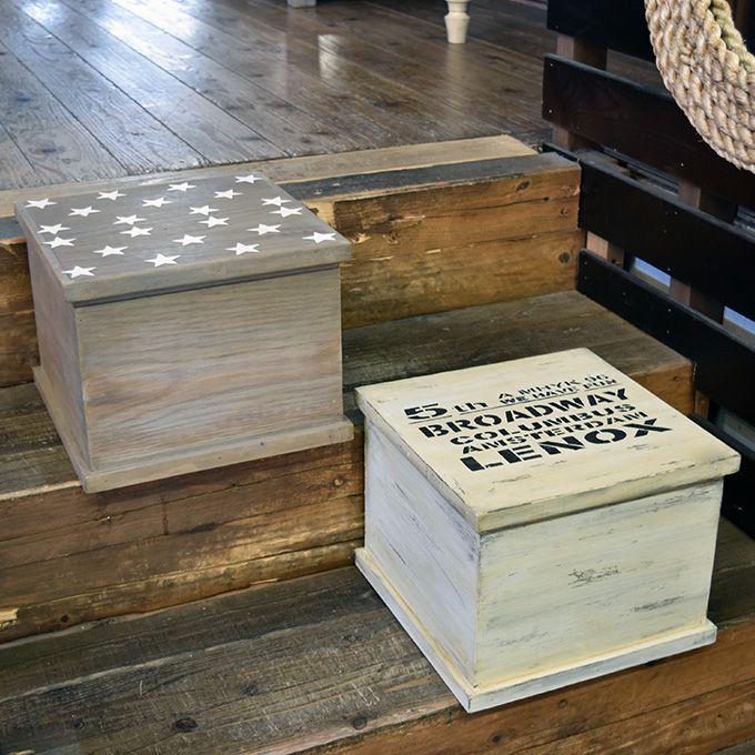 木箱 星柄 フタ付き 蓋付きボックス 小物入れ 宝箱 アンティーク アンティーク雑貨 北欧風 レトロ モダン マリン