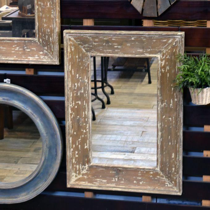 壁掛けミラー 鏡 アンティーク風 長方形 アンティーク家具雑貨 シャビー雑貨 北欧風 レトロ モダン マリン