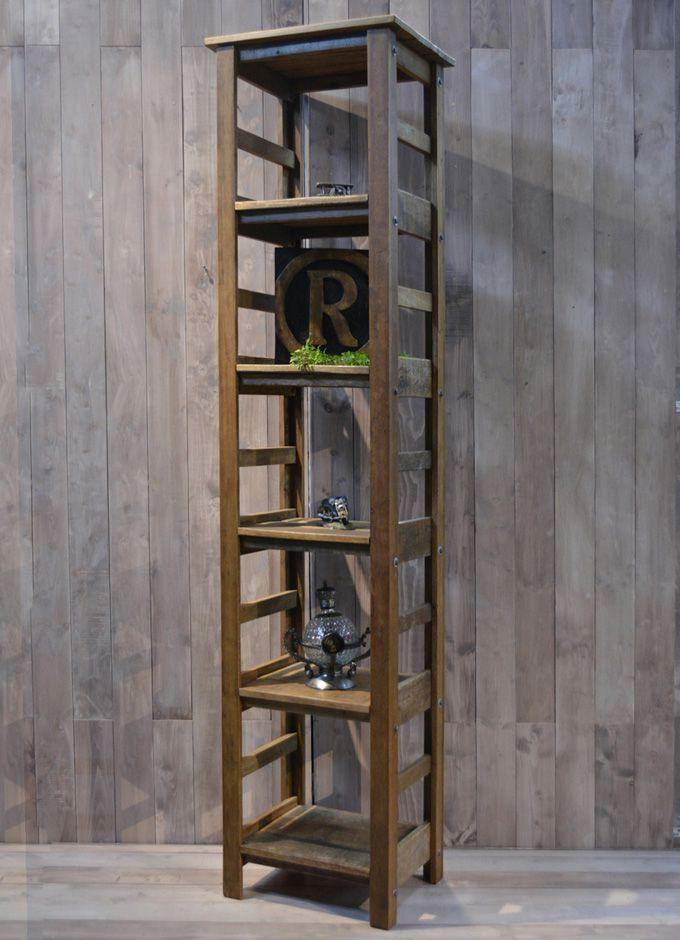 ラック 5段ディスプレイラック コレクションラック コレクションボード 飾り棚 シェルフ 古木製 シャビー家具 リサイクルウッド アンティーク家具 アンティーク雑貨 北欧風 レトロ モダン マリン