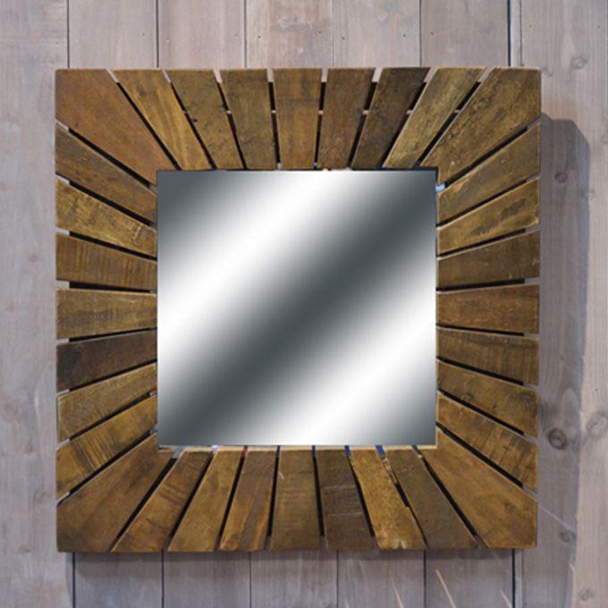 スクエアミラー 鏡 壁掛け シャビー家具 アジアン ブラウン 古木製 リサイクルウッド アンティーク家具 アンティーク雑貨 北欧風 レトロ モダン マリン