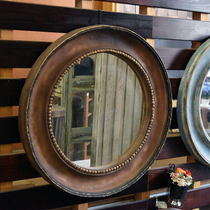 壁掛けミラー 鏡 アンティーク風 円形 アンティーク家具雑貨 シャビー雑貨 玄関 リビング カフェ 北欧風 レトロ モダン マリン