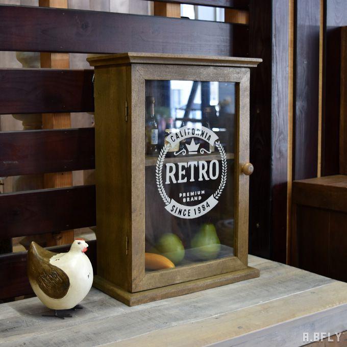 ウォールキャビネット シェルフ キャビネット 収納棚 壁掛け 飾り棚 キッチン収納 北欧 レトロ アンティーク ヴィンテージ 木製 天然木 カフェ
