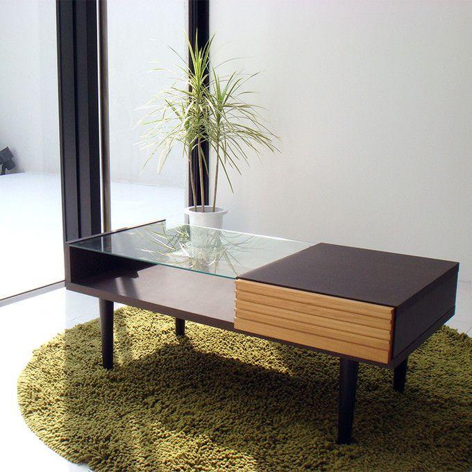 リビングテーブル センターテーブル ローテーブル ダイニングテーブル ガラストップ 引出し 収納 モダン シンプル 北欧 無垢 アルダー 木製 シック 上質感 落ち着く ルーバー形状