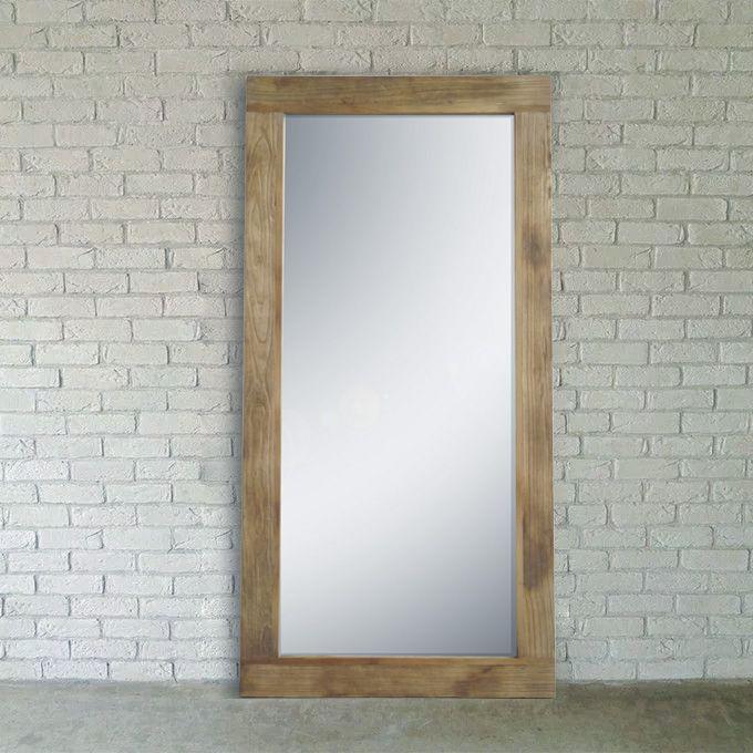 壁立てかけ ミラー 鏡 木製 大型 壁掛け 立てかけ 全身 全身鏡 姿見 ウォールミラー スタンドミラー 古材 インダストリアル カフェ ナチュラル アンティーク カントリー ヴィンテージ シンプル//