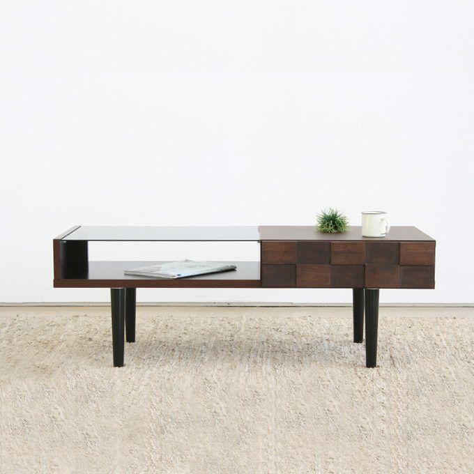 リビングテーブル センターテーブル ローテーブル ダイニングテーブル ガラストップ 引出し 収納 モダン シンプル 北欧 ナチュラル 木製 シック 日本製 国産 コンパクト 省スペース 新生活 アルダー材