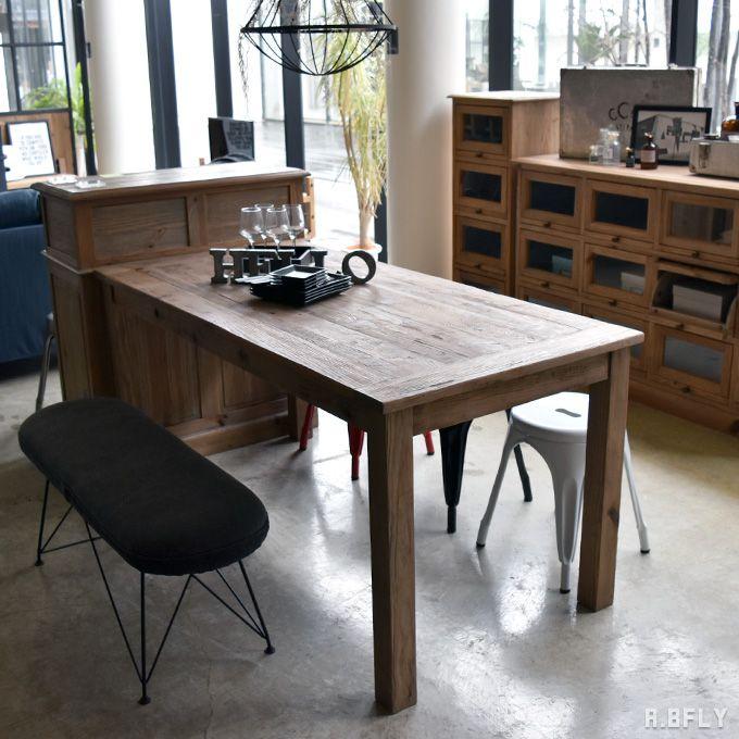ダイニングテーブル 幅160cm 食卓 テーブル オールドパイン無垢材 木製 古材 ヴィンテージ シンプル ナチュラル 北欧 カフェ 素朴 ショップ ファミリー カントリー//