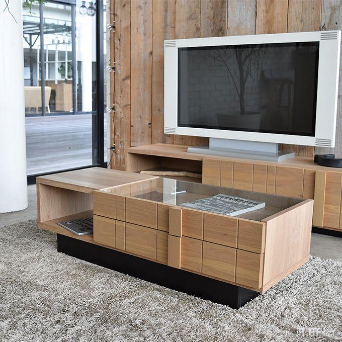 リビングテーブル センターテーブル ローテーブル コレクション テーブル ダイニングテーブル カフェ コーヒーテーブル ガラス天板 日本製 国産 木製 オーク材 天然木 収納 モダン シンプル 北欧 ナチュラル シック