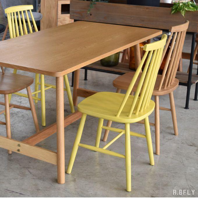 ダイニングチェアー 2脚セット 食卓 椅子 北欧 イス スピンドルチェア ウィンザーチェア 黄色 イエロー ナチュラル 茶色 ブラウン 木製 カフェ 飲食店 店舗用