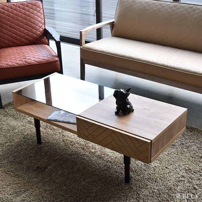 センターテーブル 幅110cm ガラステーブル リビングテーブル ソファテーブル 引出し オーク無垢材 木製 収納 ローテーブル コーヒーテーブル シャビーナチュラル ミッドセンチュリーモダン 北欧 座卓 ヘリンボーン柄 完成品 日本製 国産