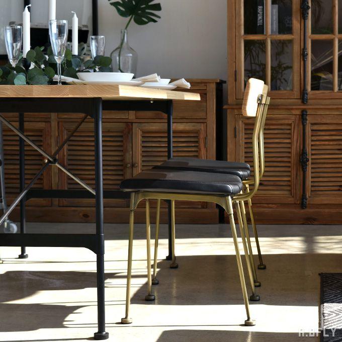 ダイニングチェア 1脚 椅子 イス ワークチェアー アッシュ無垢材 PUレザー アンティークゴールド アメリカン 北欧 インダストリアルデザイン レトロ ヴィンテージ
