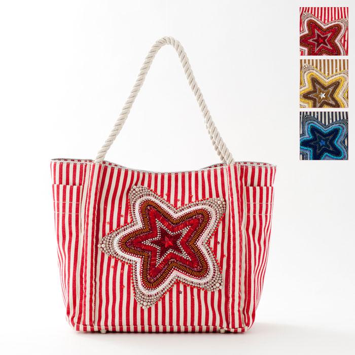 【送料無料】訳ありOutlet!【ipa-Nima】星飾り付き マリントートバッグ