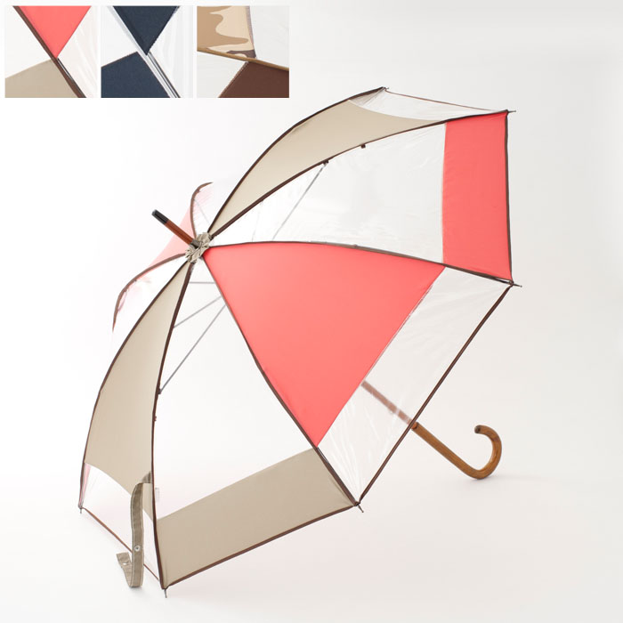 【SOFRAP】ソフラップカラーブロックアンブレラ(レディース 木製ハンドル 傘 カサ 雨傘 雨具 おしゃれ 小物 雑貨 プレゼント バレンタイン ご褒美 ホワイトデー お返し 誕生日 女性 ギフト 高級 彼女 迷彩 ブルー ピンク アビアント)