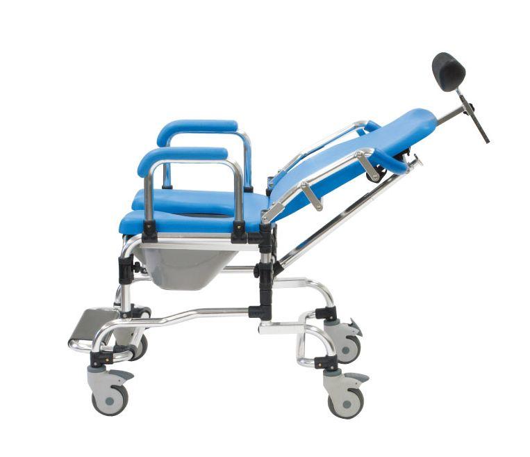 入浴用車椅子 リクライニング シャワーキャリー・コモード付【入浴用キャリー/コモードチェアー】