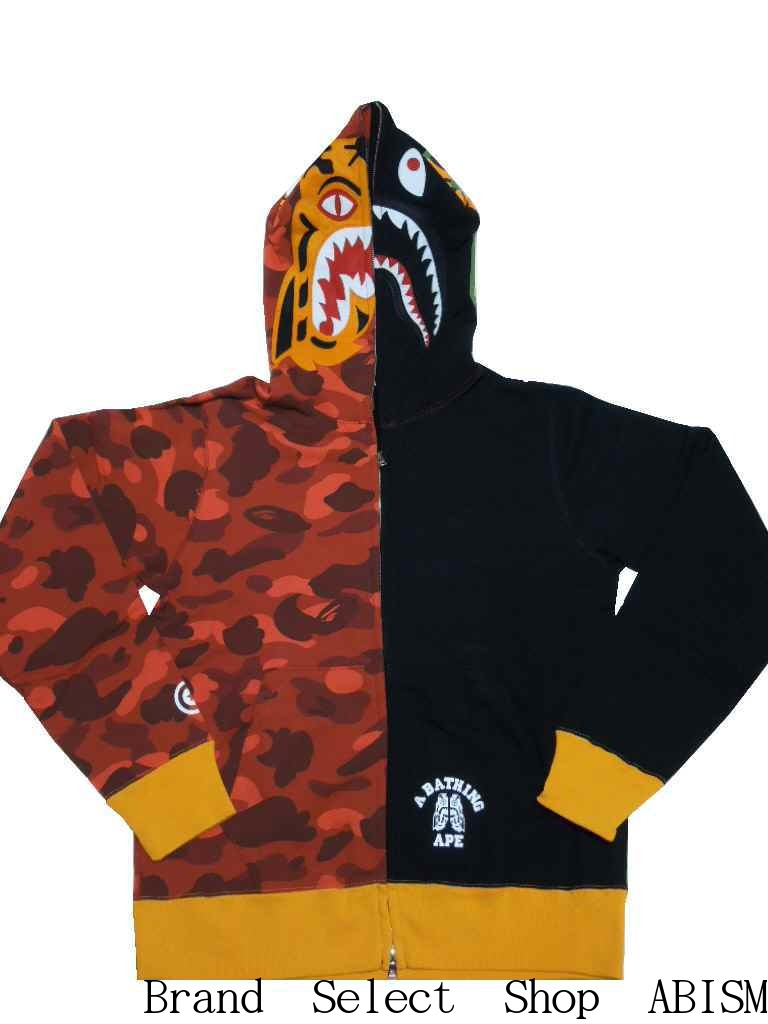 327708d53018 A BATHING APE (エイプ) COLOR CAMO TIGER SHARK FULL ZIP HOODIE Tiger shark full  zip parka  red CAMO X black   product made in Japan   new article  BAPE ...