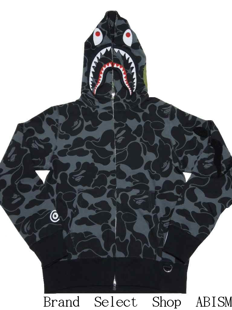 77177008 [collect on delivery impossibility] A BATHING APE (エイプ) BIG ABC SOLID CAMO  DETACHABLE SHARK FULL ZIP HOODIE Shark full zip parka [black] [product made  in ...