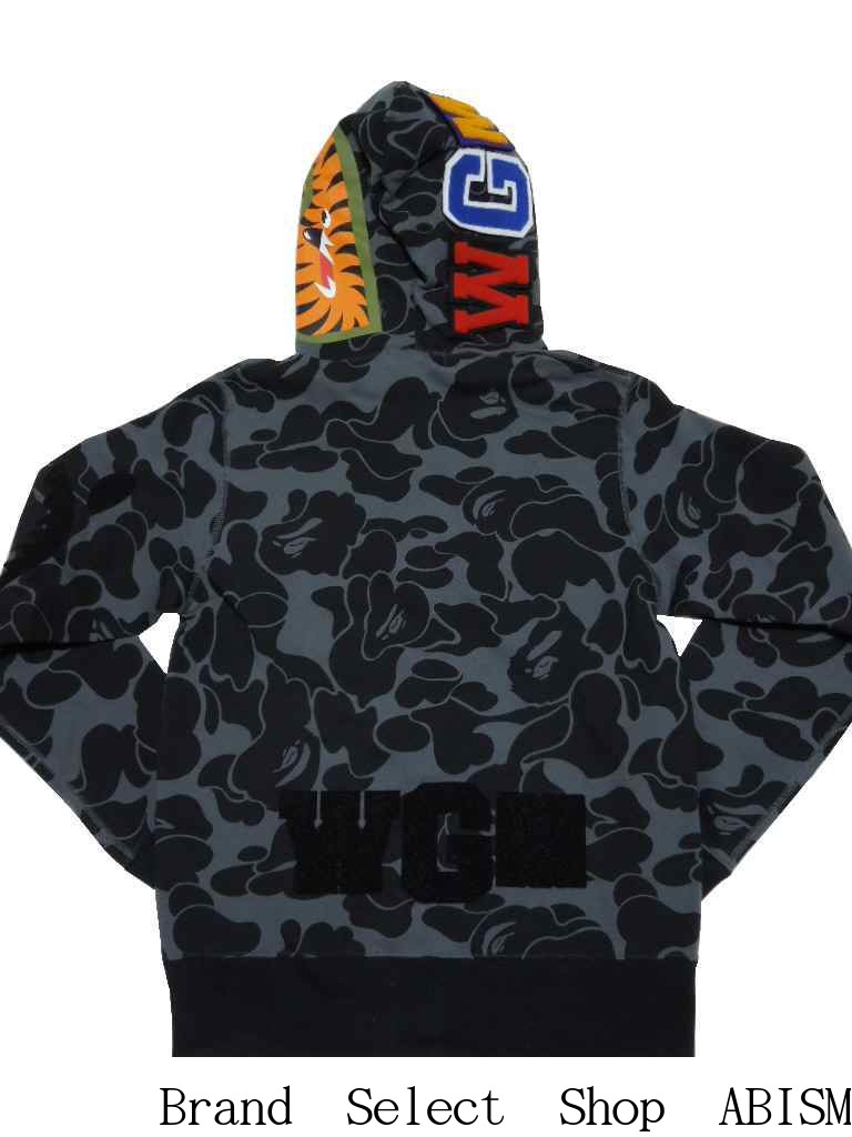 e2055f16e116 A BATHING APE (エイプ) BIG ABC SOLID CAMO DETACHABLE SHARK FULL ZIP HOODIE  Shark full zip parka  black   product made in Japan   new article