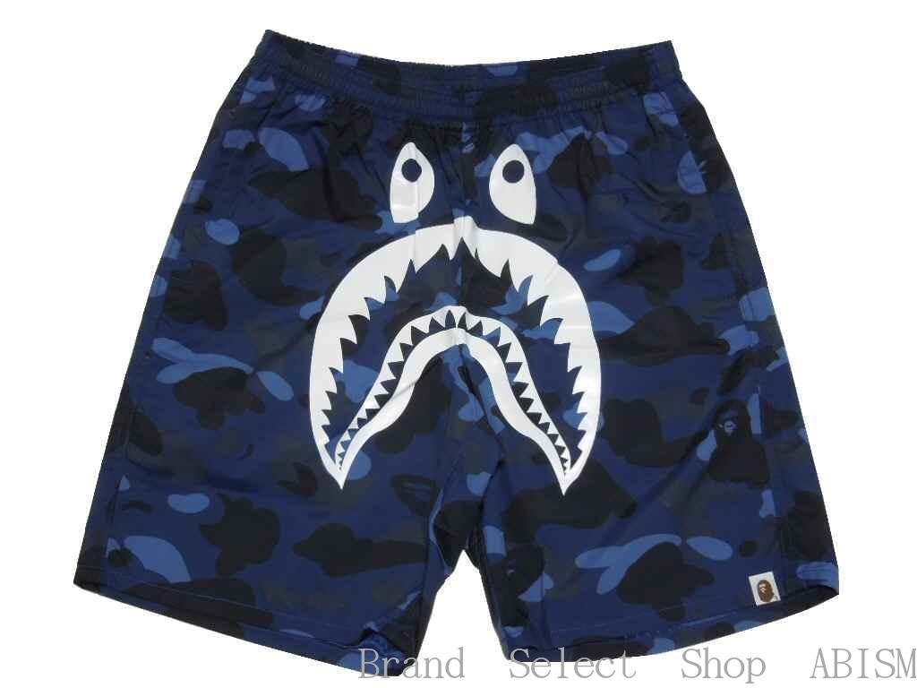 【代引き不可】A BATHING APE(エイプ)COLOR CAMO SHARK BEACH PANTSシャーク ビーチパンツ 【ネイビー】【新品】BAPE/ベイプ