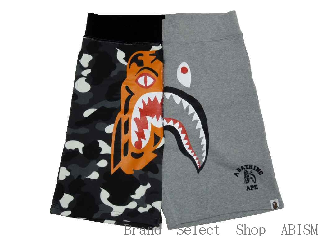3459e46a53 A BATHING APE (エイプ) CITY CAMO TIGER SHARK SWEAT SHORTS Tiger shark sweat  shirt shorts  gray X black CAMO   product made in Japan   new article