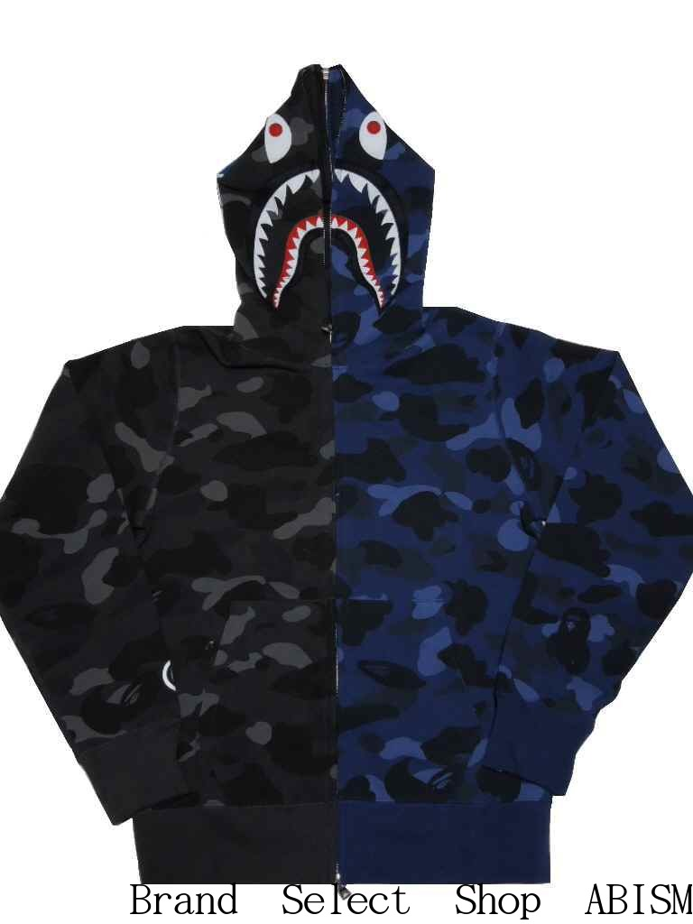 329278944ec1 A BATHING APE (エイプ) COLOR CAMO SEPARATE SHARK FULL ZIP HOODIE Shark full zip  parka  black x blue   product made in Japan   new article