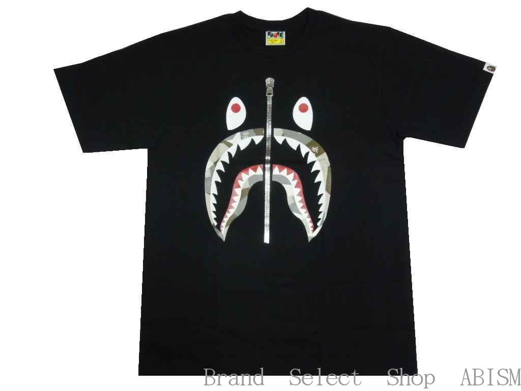 A BATHING APE(エイプ)BAPE SPLINTER CAMO SHARK TEE【Tシャツ】【ブラックxベージュ】【新品】【MEN'S】【BAPE/ベイプ】