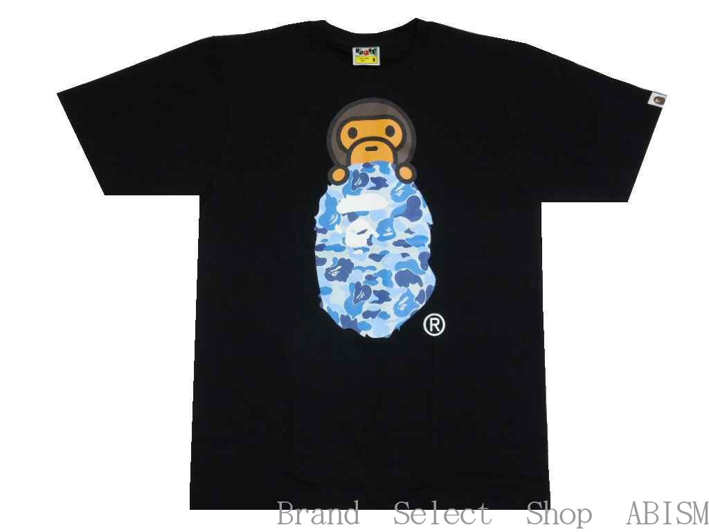 A BATHING APE(エイプ)ABC MILO ON APE HEAD TEE【Tシャツ】【ブラックxブルー】【新品】【MEN'S】【BAPE/ベイプ】