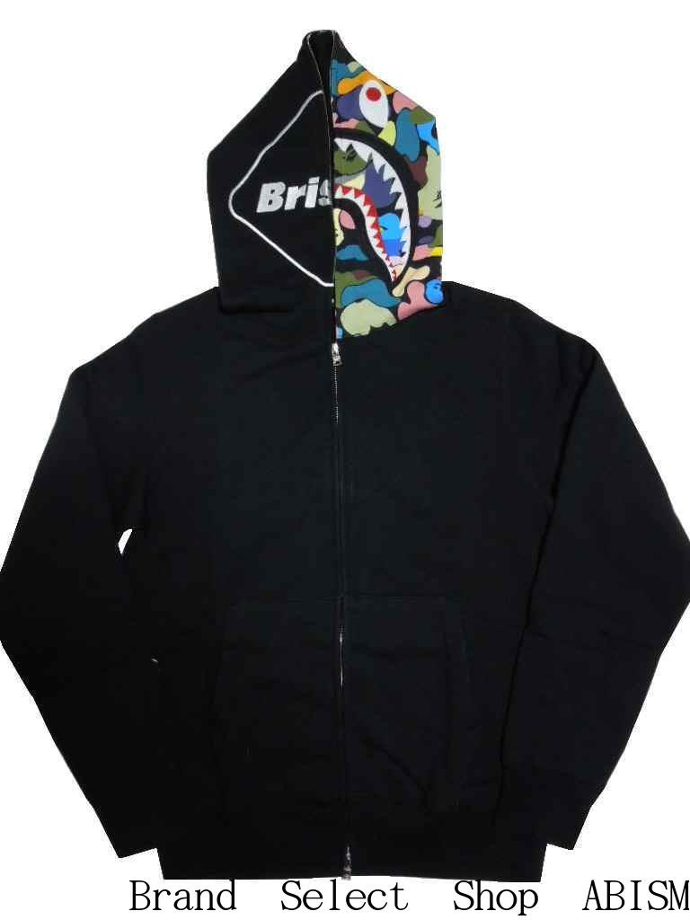 A BATHING APE(エイプ)x F.C.R.B.(エフシーアールビー)BAPE X FCRB SHARK FULL ZIP HOODIEシャーク フルジップ パーカー【ブラック】【日本製】【新品】F.C. Real Bristol(ブリストル)【MEN'S】BAPE(ベイプ)