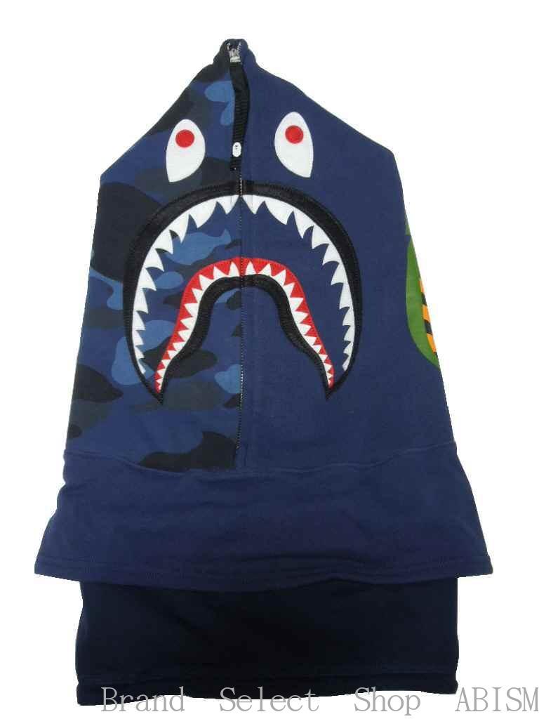 A BATHING APE(エイプ)COLOR CAMO SHARK FACE MASK(シャークフェイスマスク)【ネイビー】【日本製】【新品】BAPE(ベイプ)