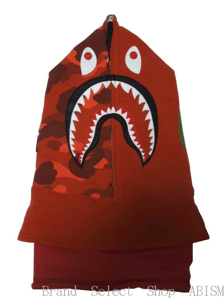 A BATHING APE(エイプ)COLOR CAMO SHARK FACE MASK(シャークフェイスマスク)【レッド】【日本製】【新品】BAPE(ベイプ)