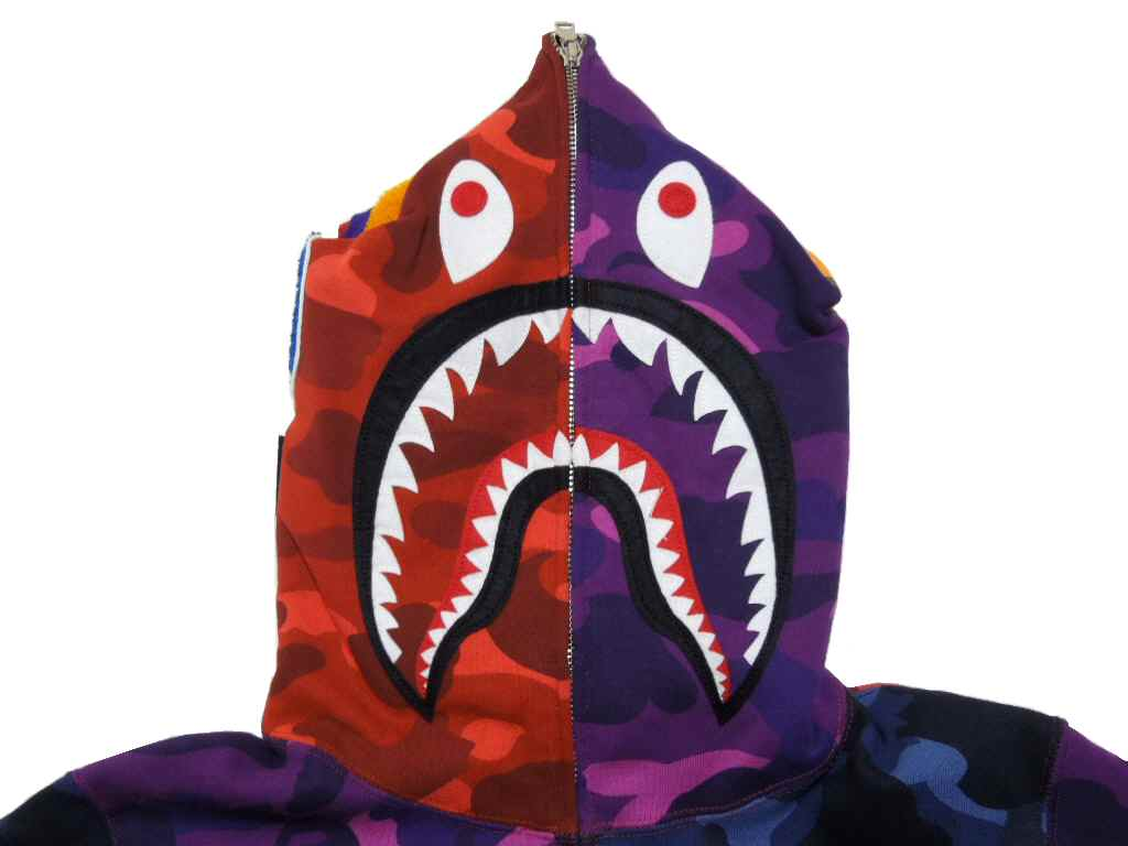 A BATHING APE (エイプ) COLOR CAMO CRAZY SHARK FULL ZIP HOODIE 상어 풀 짚 후 디 (파커) BAPE ベイプ
