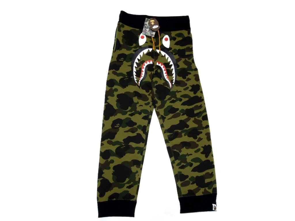 1 ST CAMO (ファーストカモ) SHARK SWEAT PANTS (sweat pants shark)  Green   New  BAPE   Free shipping  081a35894008