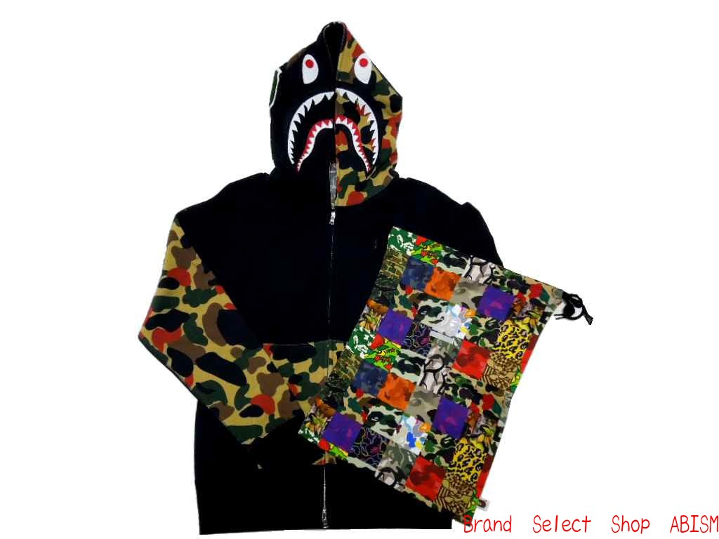 2a97c5b48727 A BATHING APE (APE) NW20 APEMAN CAMO SHARK FULL ZIP HOODIE with signature  エイプマンカモ shark フルジップフーディー (Parker) NW20 DrawString bag with!
