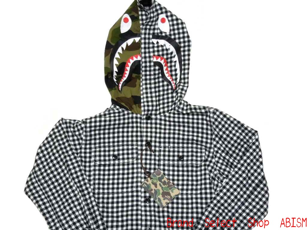 f6f9b78a brand select shop abism: A BATHING APE (APE) SHARK GINGHAM CHECK BAPE bape  shark gingham check HOODIE SHIRT (t-shirt) | Rakuten Global Market