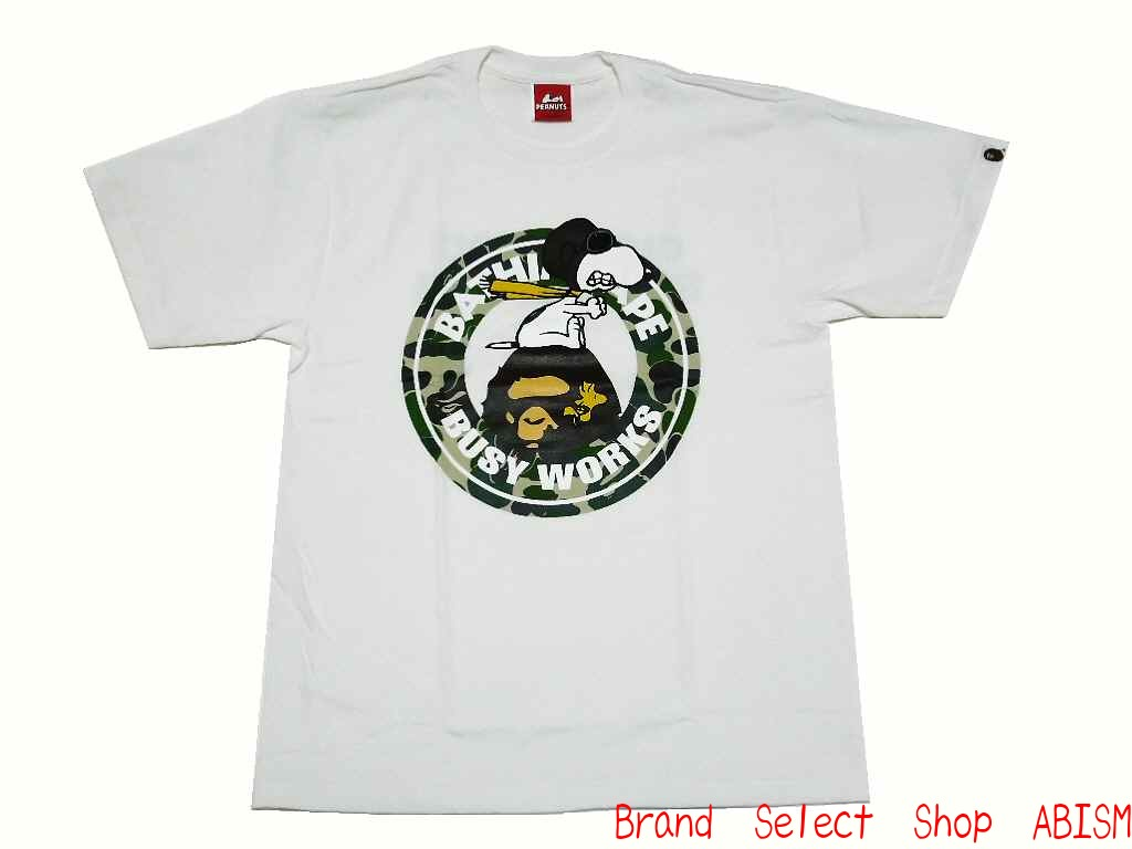 3f55f3fbf39 A BATHING APE (APE) xPEANUTS (peanut) Collaboration t-shirt. BUSY WORKS  FLYING ACE TEE The flying ACE t-shirt  White   New
