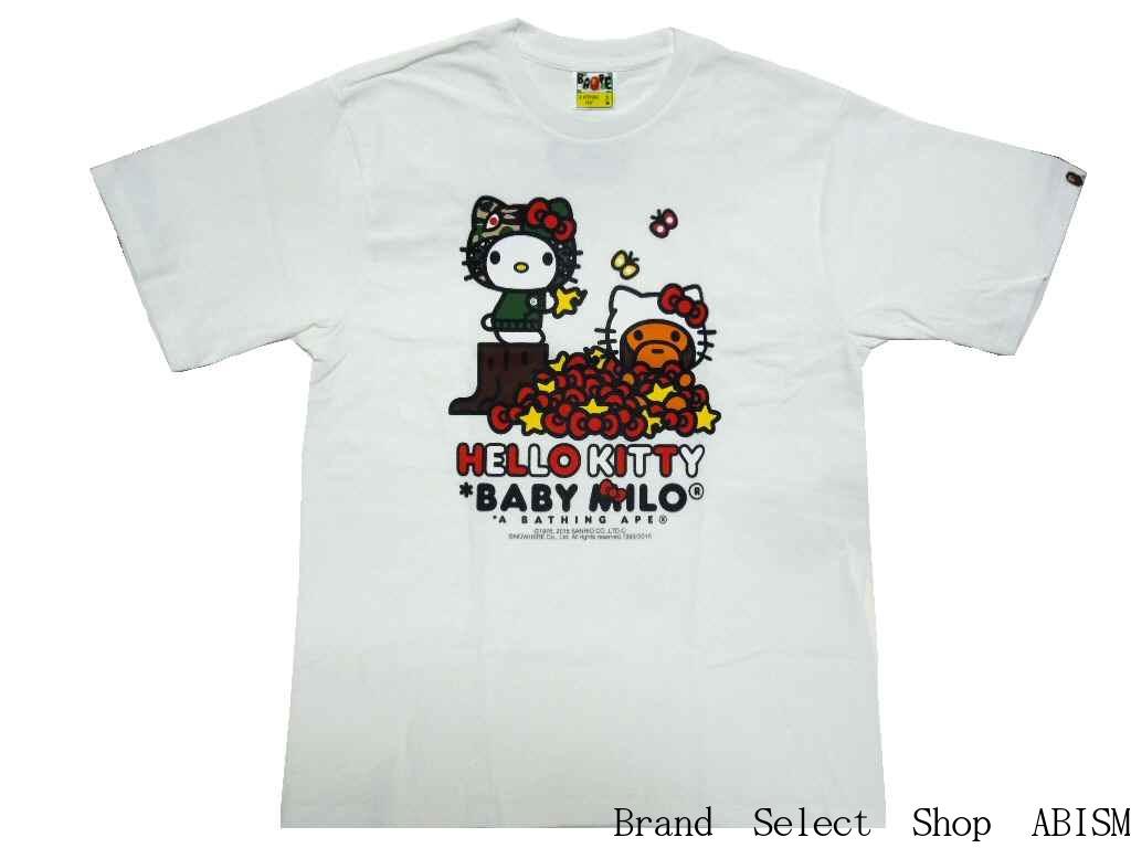 bcc72f6119a6 A BATHING APE (APE) x HELLO KITTY (Hello Kitty) HELLO KITTY X MILO RIBBON  TEE  New   T-shirt   White   Made in Japan   BAPE   bape