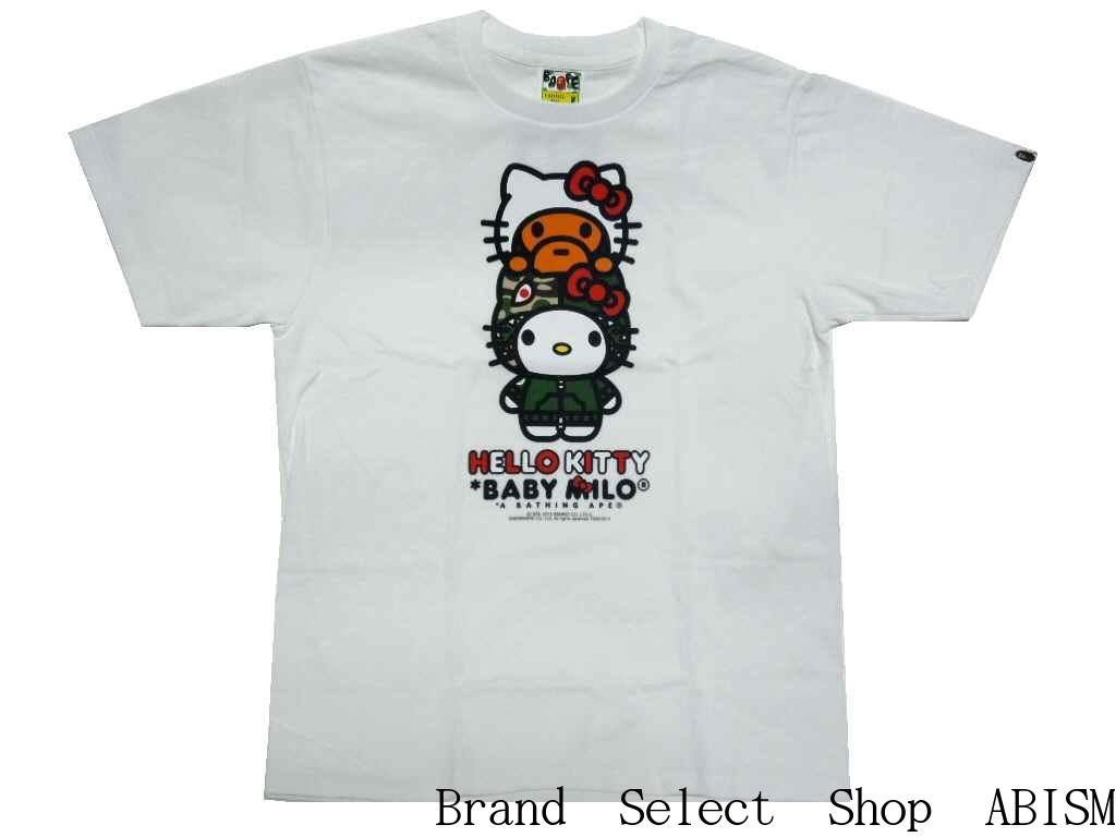 20ac7ee3bd08 A BATHING APE (APE) x HELLO KITTY (Hello Kitty) MILO ON HELLO KITTY TEE   New   T-shirt   White   Made in Japan   BAPE   bape