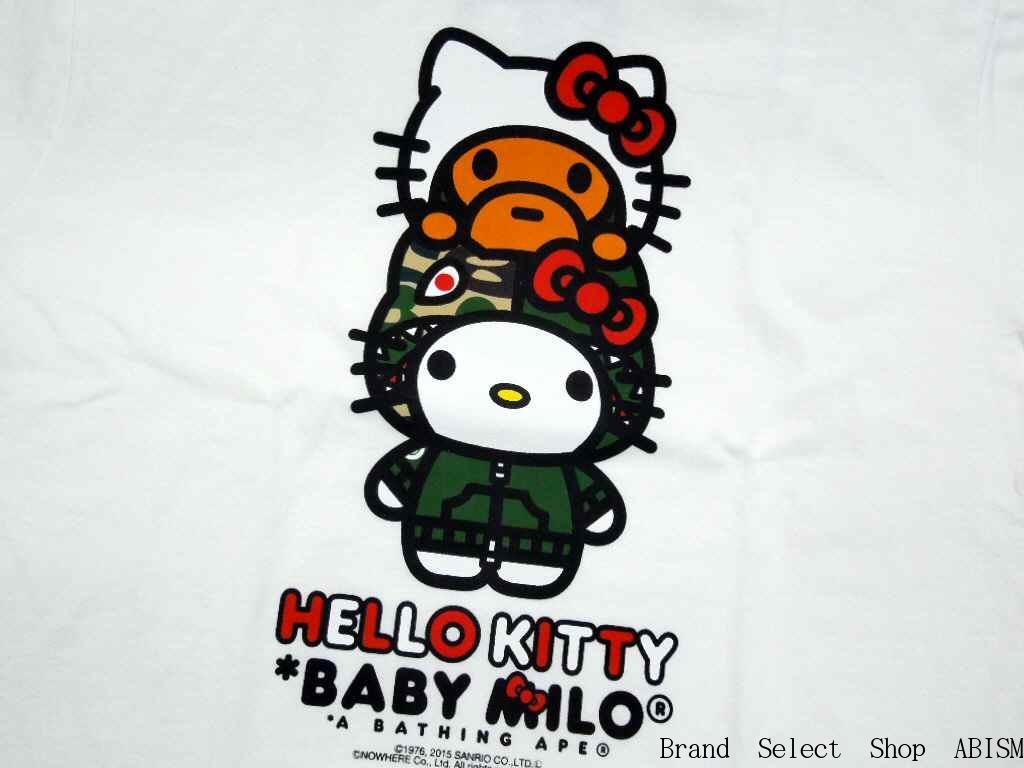 fbb74ade3a5d A BATHING APE (APE) x HELLO KITTY (Hello Kitty) MILO ON HELLO KITTY TEE   New   T-shirt   White   Made in Japan   BAPE   bape