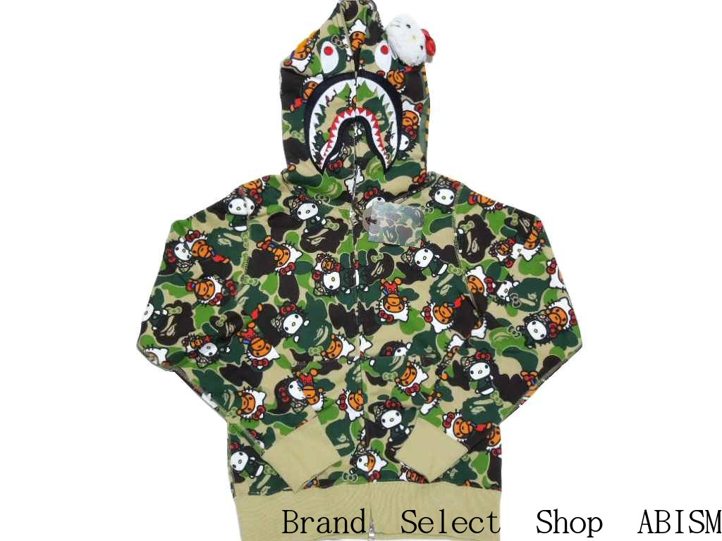 5911536b1c x HELLO KITTY (Hello Kitty) HELLO KITTY X MILO CAMO SHARK FULL ZIP HOODIE   New   Shark Parker   Green   Made in Japan   BAPE   bape
